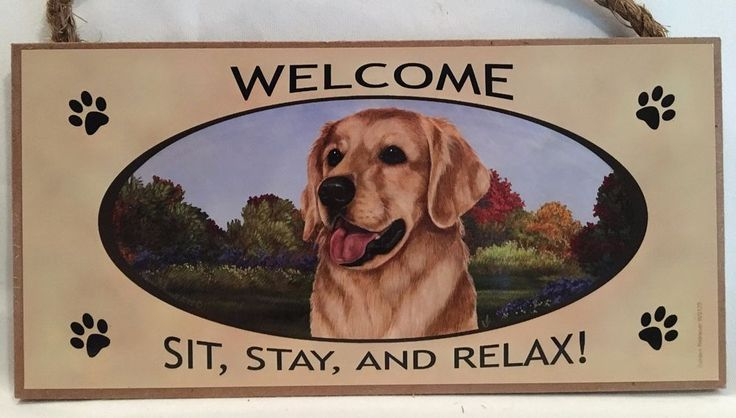 GOLDEN RETRIEVER DOG WELCOME SIGN ~ NEW ~ MADE IN U.S.A.