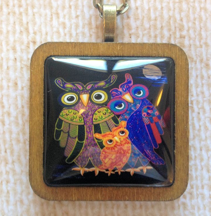 Owl in the Family Pendant - Bronze