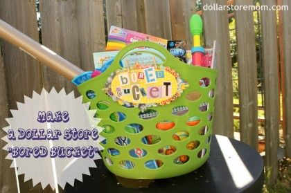 Dollar store mom- new favorite blog: Fun Bored, Gifts Bags, Gifts Baskets, Gifts Ideas, Bored Buckets, Kiddo Fun, Summer Fun, Auction Ideas, Baskets Ideas