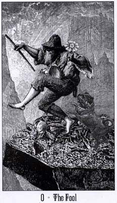 The Fool from Victoria Regina Tarot deck: Made from a collage of Victorian era steel engravings of late nineteenth century figures and settings, these black and white cards in the Victoria Regina Tarot are complicated and fascinating.