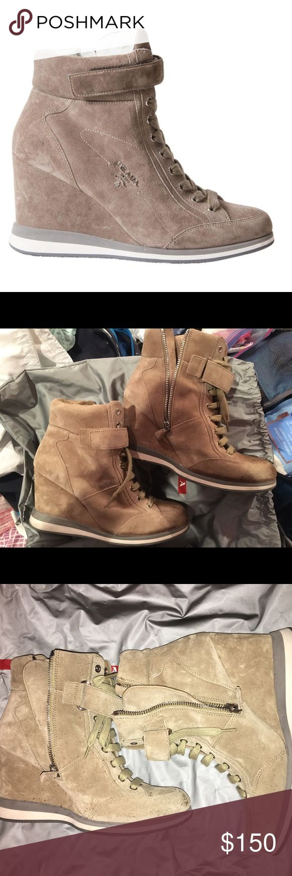 Prada Suede Beige Wedge Sneaker They have some dots because of a drink Prada Shoes Sneakers