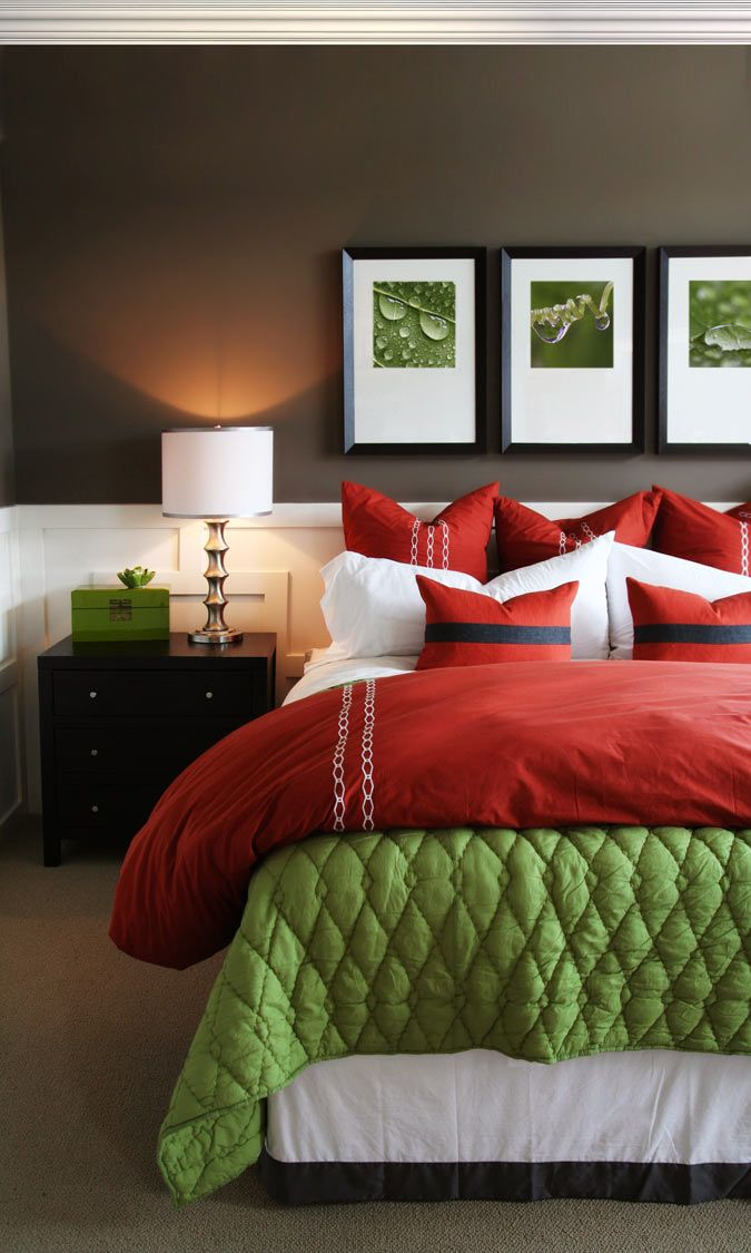Bedroom color scheme - love the idea of a rich, warm chocolate wall with white wainscoting. Like how both colors tie the green and red to the rest of the space. Would do burnt orange instead of red.
