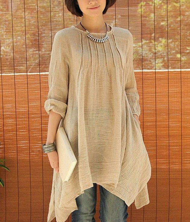 Crinkle Chest Irregular Hem Linen Tunic
