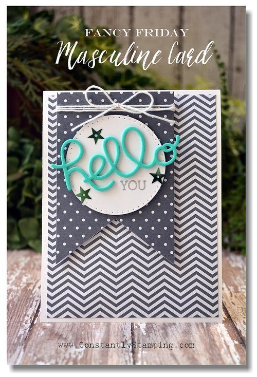 """hand crafted card ... shades of gray with a pop of turquoise ... die cut """"hello"""" ... patterned papers ... Stampin' Up!"""