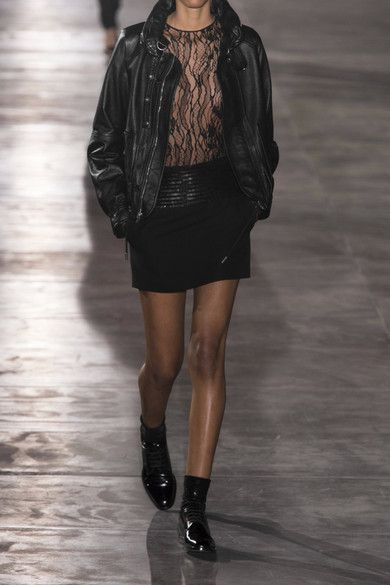 Saint Laurent - Hooded Leather Jacket - Black - FR