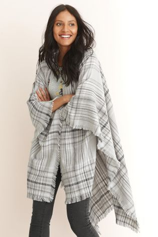 Buy Grey Check Wrap from the Next UK online shop