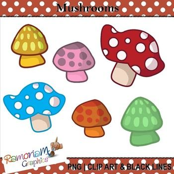 Free mushroom Clipart. 15 PNG images, each is 300dpi in Black & White, colored with colored outlines and colored with black outlines