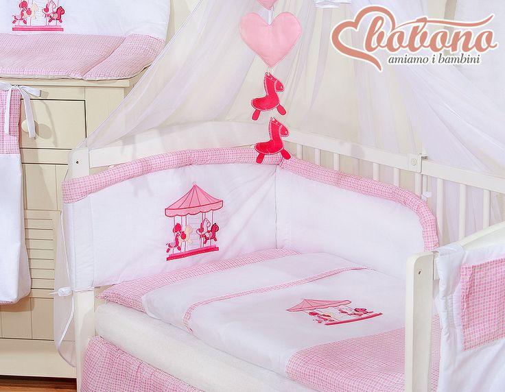 """Pink bedding set """"Carousel"""" / Bobono"""