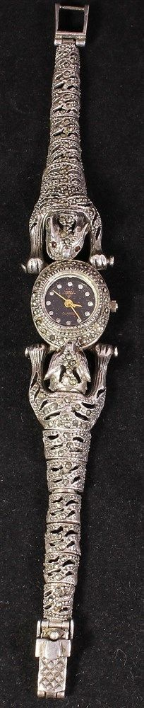Vintage Art Deco Sterling Silver Marcasite & Garnet Articulated Jaguar Watch 37g