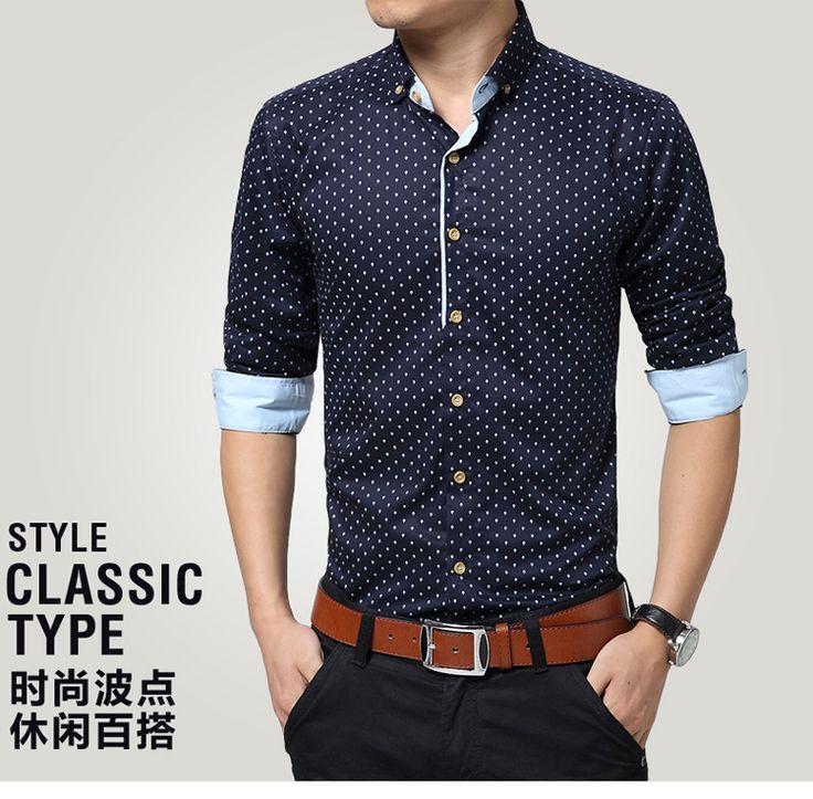 Doprava zadarmo 2015 Man móda slim fit ležérne košele, pánske košele dlhý rukáv camisa masculino, štýl klasický typ muži oblečenia-in neformálne košele od Pánske Oblečenie a doplnky na Aliexpress.com   Alibaba Group