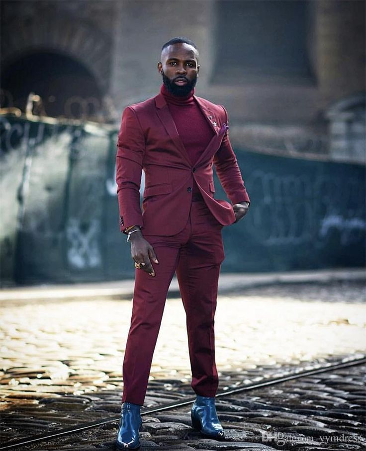 Burgundy wedding tuxedos 2019 two button notched lapel two