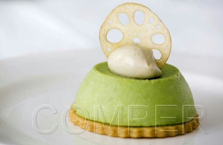 Green tea cheesecake with lotus roots and Liquorice creme Chantilly