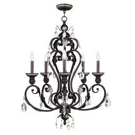 Livex Lighting 27-In 5-Light Hand-Rubbed Bronze Mediterranean Candle Chandelier 8155-40