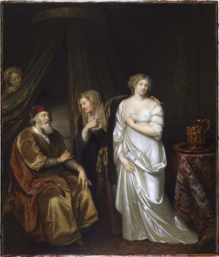 Caspert Netscher, Sarah présente Agar à Abraham (collection Leiden)