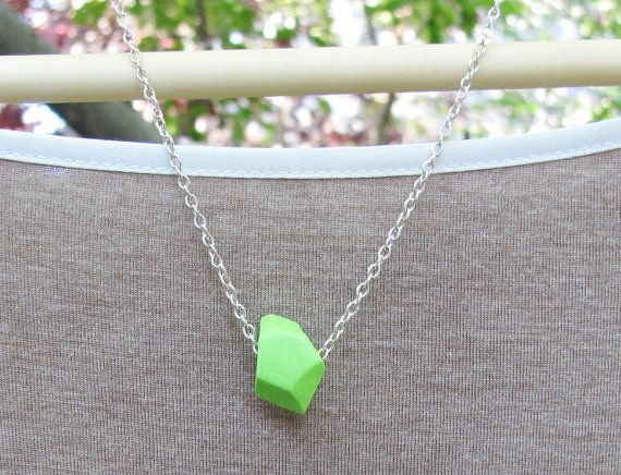 Faceted Necklace in Lime Green by TangoTLH on Etsy