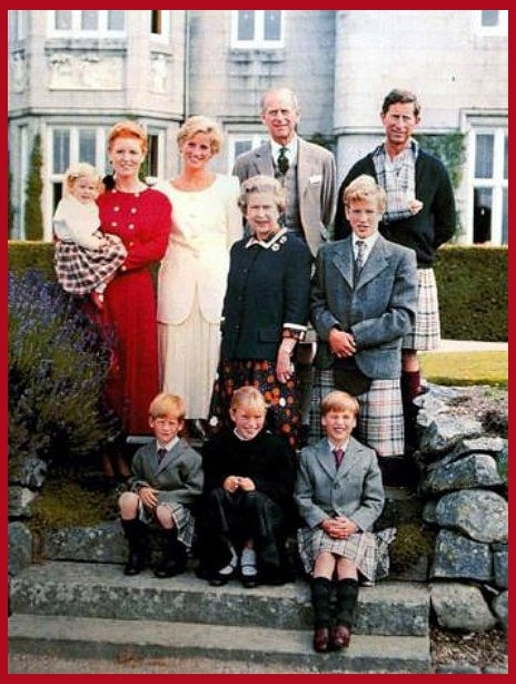A portrait of the Royal Family at Balmoral with some interesting details. There are very few photographs of Prince William and Harry wearing kilts. All the boys and men are wearing the Balmoral Tartan. The photograph also features Sarah Ferguson and Princess Beatrice (Prince Andrew must have been at sea) Princess Diana, Prince Phillip, Prince Charles (with arm in a tartan sling) Peter and Zara Philips (minus parents) and the Queen. Circa 1990.