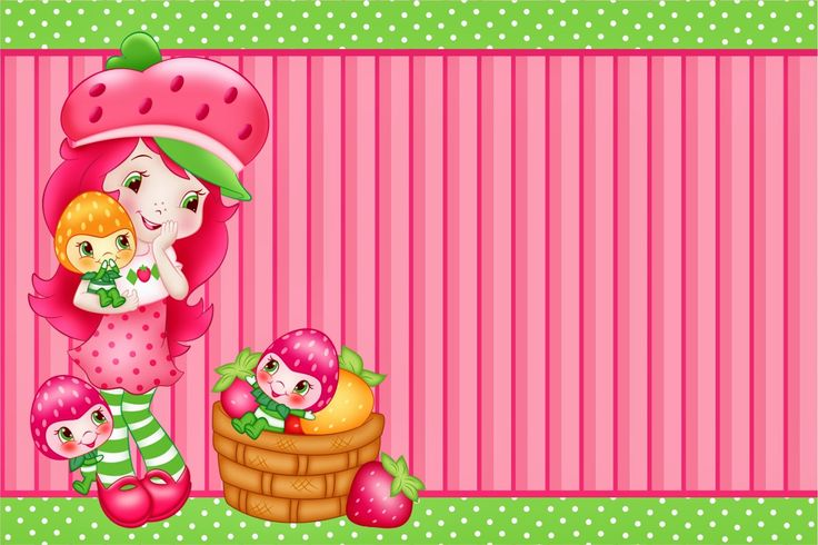 Strawberry Shortcake free printable invitation, card, bunting or candy bar label.
