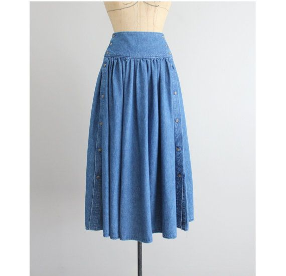 1990s vintage long denim skirt with high cummerbund waist and side buttons. Fits Like: SMALL / MEDIUM  Era: 199d0s Color: blue Fabrication: denim