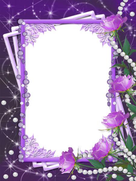 Transparent Purple Flower Borders and Frames