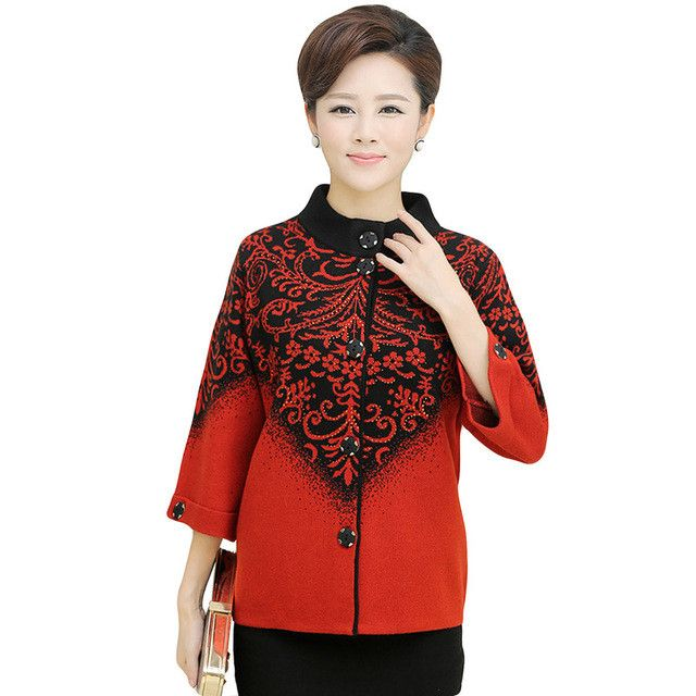Brand Women Cashmere Sweater Coat 2017 Middle-Aged Autumn Winter Thick Casual Print Knitted Sweatrs Plus Size Cardigan SU0062