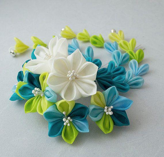 Reserved Tsumami Kanzashi Silk Flowers Hair Stick Pin Lime Turquoise Bridal Ivory