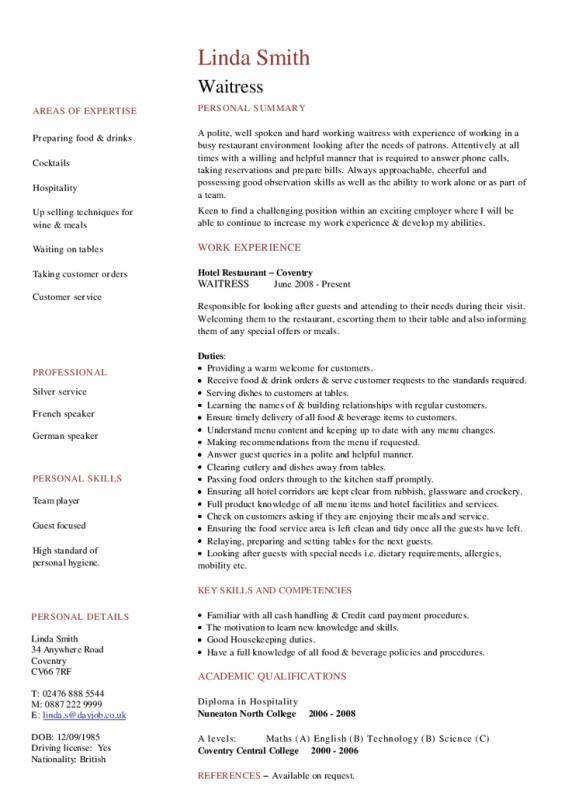 Resume For Waitress Cv Resume Sample