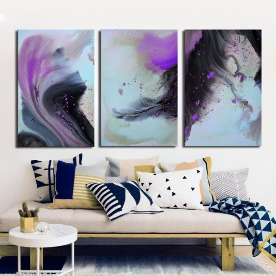 Purple violet gray abstract print from original by BuyWallArt
