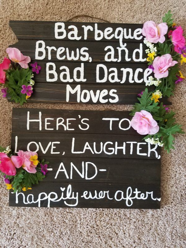 Selling two wooden signs that were used for an outside country wedding that are still in excellent condition. Signs can be used for reception or ceremony. Selling both together!