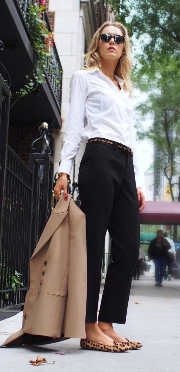 Camel blazer, white button down, skinny leopard belt, straight leg black trousers, leopard flats