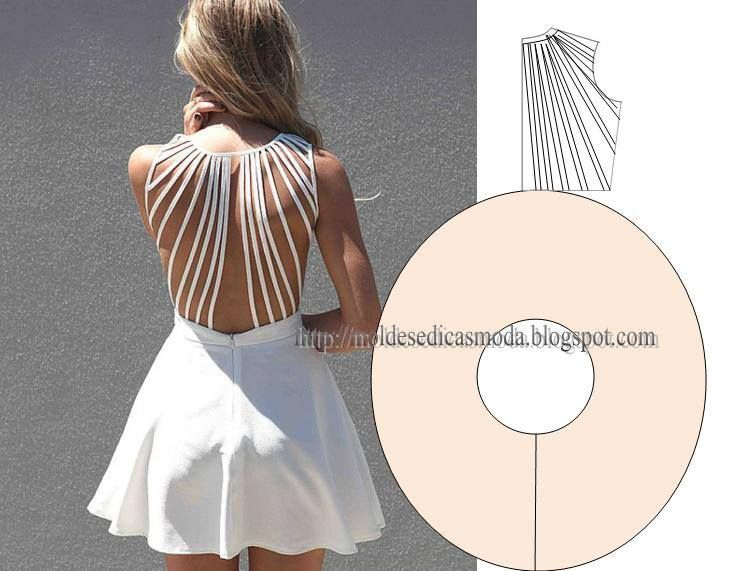 Modelagem de vestido com decote das costas feito de várias tiras de rolotê…