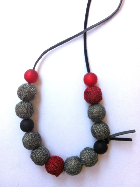 Necklace with grey,black and red beads (made to order). $20.00, via Etsy.