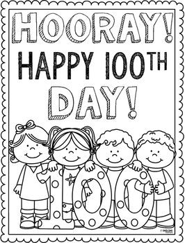 100th Day Coloring Page | school | School coloring pages, 100 days ...