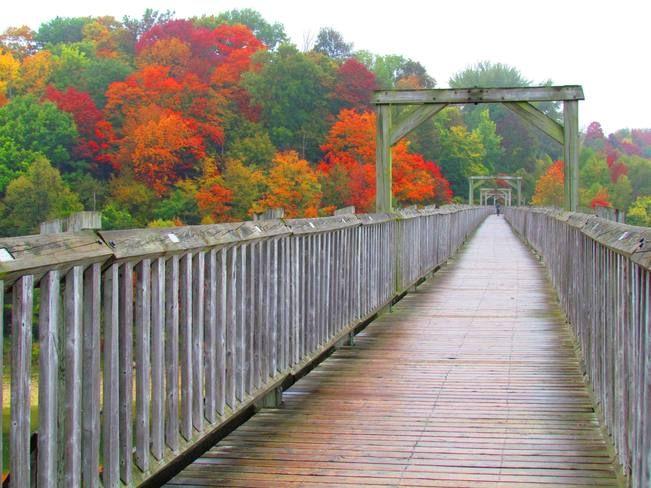 Fall colours, Menestung Bridge, Goderich, Ontario #Goderich #RediscoverGoderich