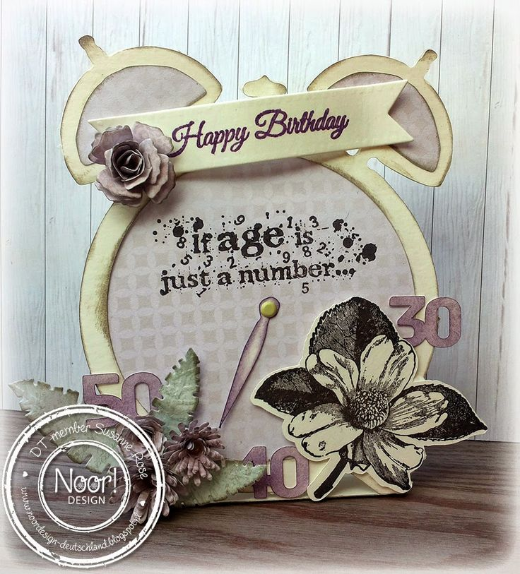 Funny birthday card by Susanne Rose, using one of Rubber Dance's Antique Botanical flowers and birthday sentiment. Love it!!
