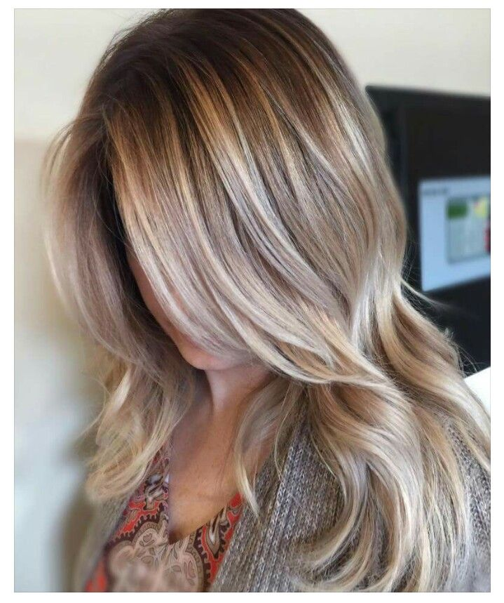 Color roots, then Balyage. Melted her root with wella 7/18 ...