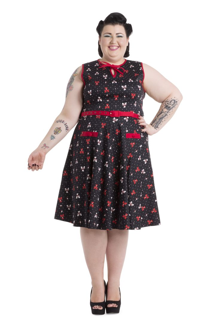 Bowl into another era with this super cute bowling pin dress! Available in sizes 16-26 -->  http://www.claireabellascloset.co.uk/vintage/vintage-plus-size/product/1582-voodoo-vixen-alley-cat-bowling-pin-dress-plus-size-16-26