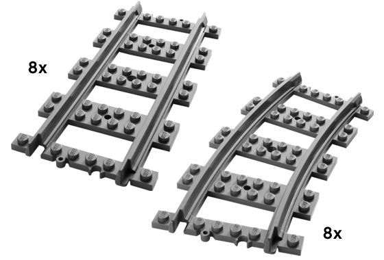 7896-1: Straight and Curved Rails | Brickset: LEGO set guide and database