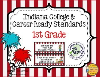 New Indiana State Standards- 1st Grade ~ Red/White Whimsical Theme Do you want/need to post the standards? These are perfect for your classroom. These are the new Indiana Academic Standards (Now called Indiana College and Career Ready Standards) for 1st grade.
