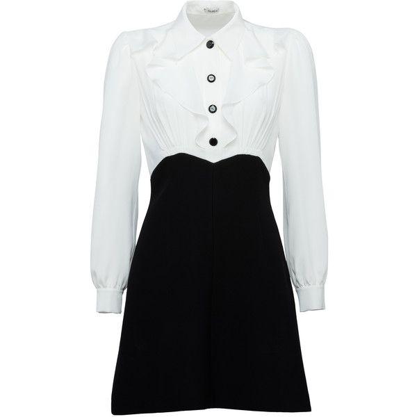 DRESS ($1,950) ❤ liked on Polyvore featuring dresses, long button dress, shirred dress, ruching dress, gathered dress and boxy dress