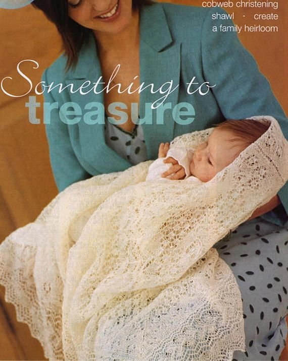 PDF Vintage Baby Knitting Pattern  Christening Shawl Blanket