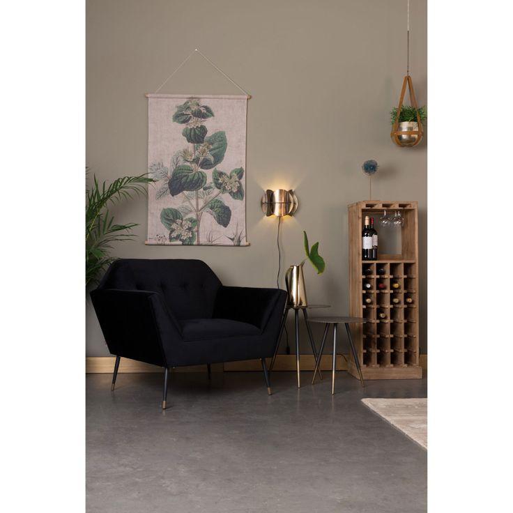Fauteuil lounge velours Kate Dutchbone Noir