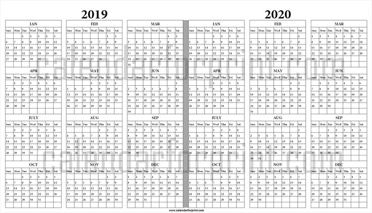 2019 and 2020 yearly calendar printable