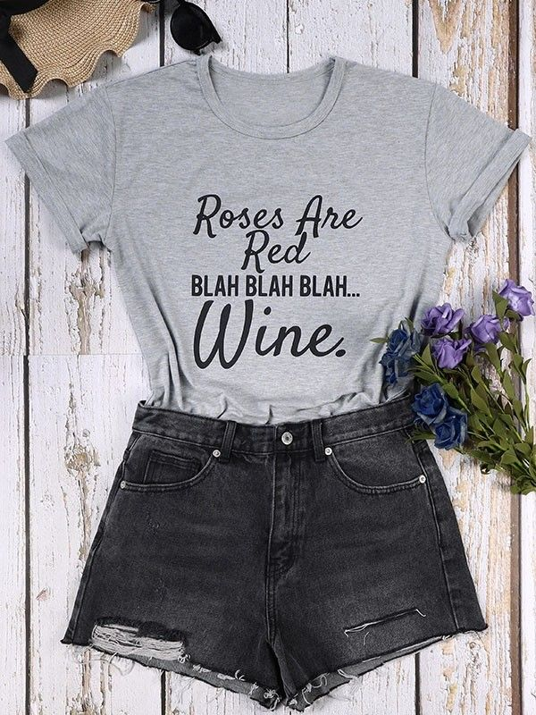 1c8de339c Dresswel Women Roses Are Red Letter Print T-shirt Tops $11.99 #dresswel # women #fashion #t-shirt #letterprint