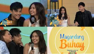 Magandang Buhay April 18 2016   Magandang Buhay April 18 2016 teaser. Kathryn Bernardo and Daniel Padilla. Magandang Buhay (lit. Good Life) is an upcoming Filipino lifestyle-morning television talk show to be broadcast by ABS-CBN. Hosted by Karla Estrada Jolina Magdangal and Melai Cantiveros. The show is set to air on April 18 2016 on the network's morning line-up and also to be aired worldwide via The Filipino Channel. This will serve as the replacement of now-defunct talk show Kris TV…