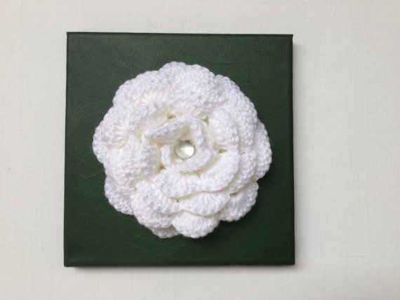 Original wall art White crochet rose wall decor by JilaCrochet