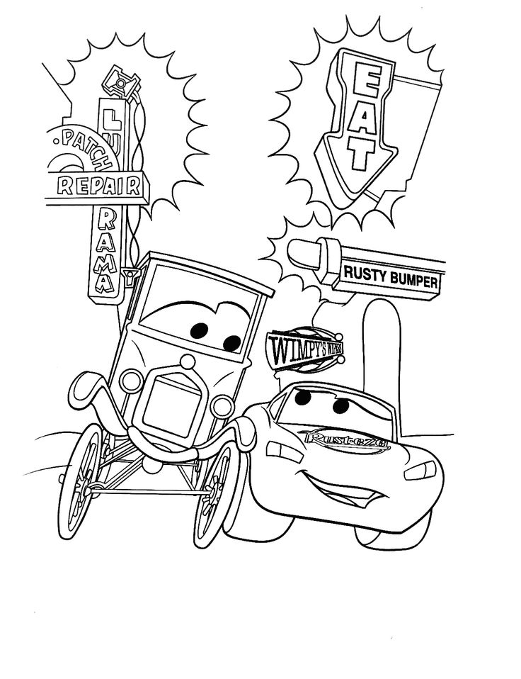 110 best images about cars from disney on pinterest for Lightning mcqueen and friends coloring pages