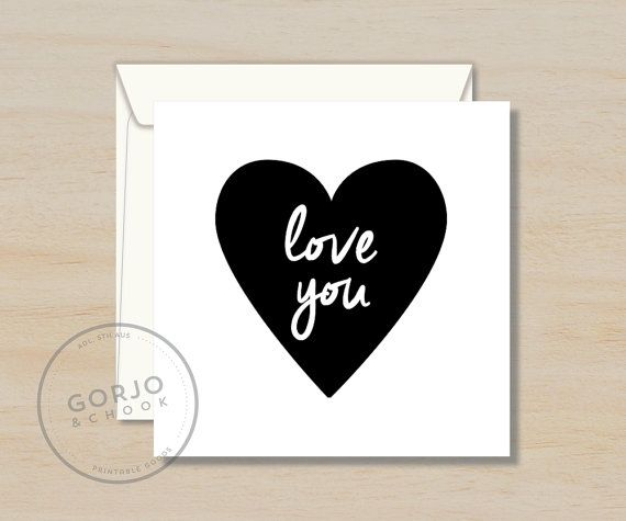 Printable Love You Card Square 12 cm x 12 cm A4 & by GorjoAndChook