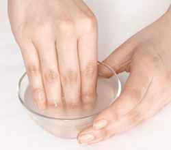 Super Strengthening Nail Soak Put 1/2 oz. (1/2 packet) of plain gelatin in a small mixing bowl, and pour 1/2 cup boiling water over the gelatin. Mix thoroughly with a wooden spoon or a disposable stirrer. Soak nails for 10 minutes. Then rinse well. Pour any unused gelatin mixture into a resealable container and it will keep in the fridge for about 2 months. Next time you want to pamper your nails, warm it in the microwave for a couple seconds. It will be melted quickly and be ready to use!