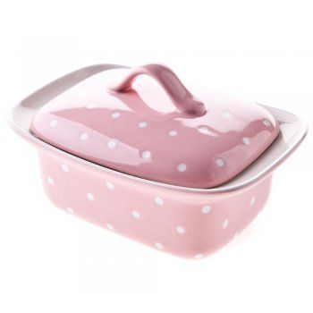 Spotted Pink Ceramic Butter Dish