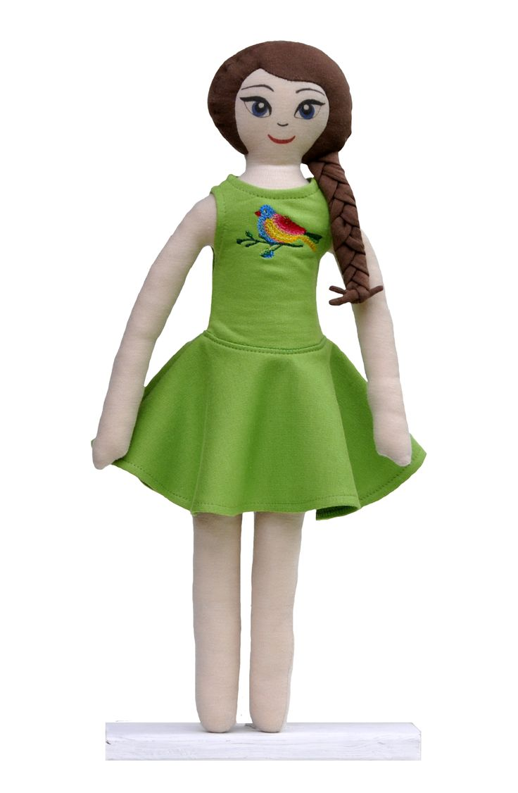 Lalanna doll in green bird dress